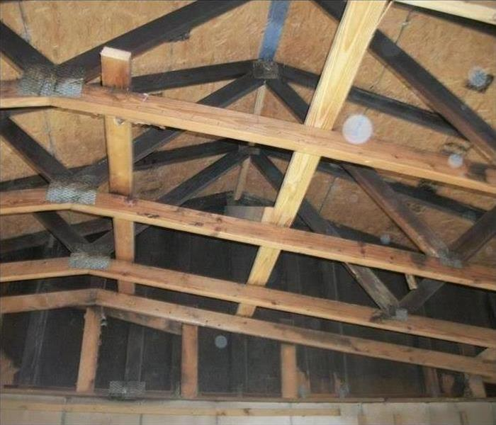 Interior Ceiling Rafter Fire Damage Before